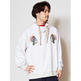 【チャイハネ】ネイティブ柄刺繍メンズフーディ ホワイト