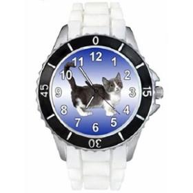 Timest--マンチキン猫--(ホワイトSE0166wの中のシリコーンストラップとの男女両用の時計)