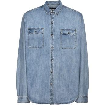 《期間限定 セール開催中》EDWA メンズ デニムシャツ ブルー S コットン 100%