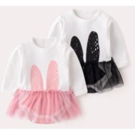 ロンパース 女の子 可愛い おしゃれ カバーオール 長袖 チュールスカート 春 秋 ピンク ブラック 黒 うさぎ 出産祝い