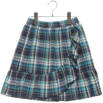 コムサイズム COMME CA ISM マドラスチェック スカート (ネイビー)