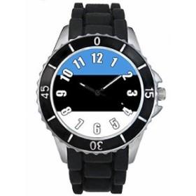 Timest - エストニアフラグ - ブラックSE0405bの中のシリコーンストラップとの男女両用の時計