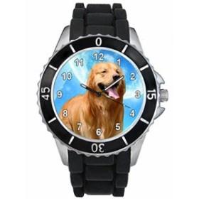 シリコーンバンドとのゴールデン・リトリーバー男女両用デザイン時計