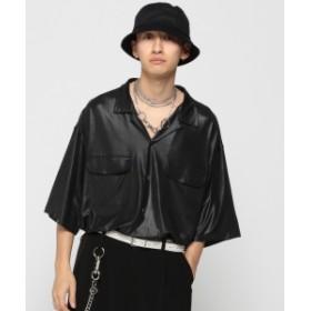 VAPORIZE / Lame Open Shirt メンズ カジュアルシャツ BLACK M