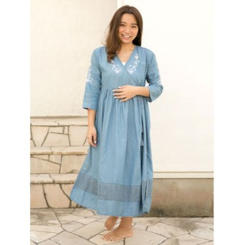 【Kahiko】フラワー刺繍ダンガリーロングカーディガン ライトブルー