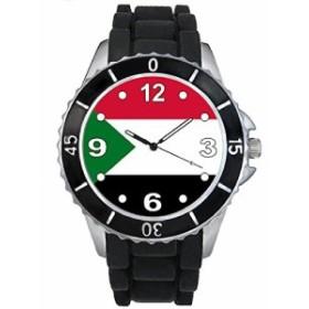 Timest - スーダン国フラグ - ブラックSE0534bの中のシリコーンストラップとの男女両用の時計