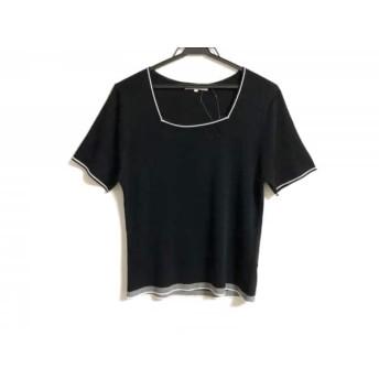 【中古】 ニジュウサンク 23区 半袖セーター サイズ44 L レディース 美品 黒 白