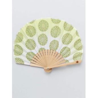 【カヤ】レトロ花扇子 袋付き ライトグリーン