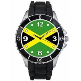 Timest - ジャマイカフラグ - ブラックSE0440bの中のシリコーンストラップとの男女両用の時計