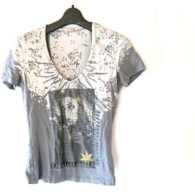 【中古】 ガリアーノ galliano 半袖Tシャツ サイズS レディース グレー 黒 ゴールド ラメ