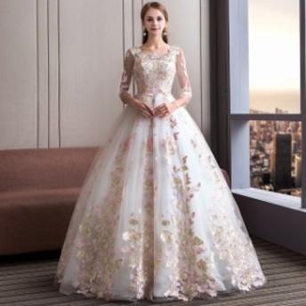 オフショルダー 披露宴 不規則 エレガントレースドレス ウエディングドレス トレーンドレス キラキラロングドレス 結婚式ドレス