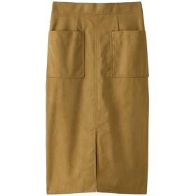 SALE 【50%OFF】 allureville アルアバイル ステッチワークカラースエードタイトスカート キャメル