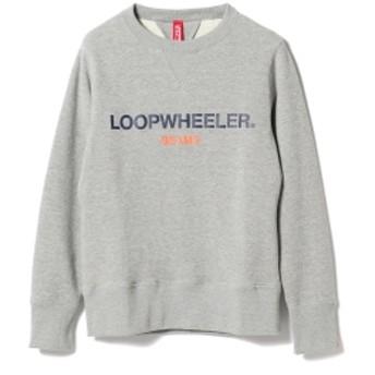 LOOPWHEELER × BEAMS JAPAN / 別注 吊り裏毛 ロゴ スウェットシャツ メンズ スウェット GREY S