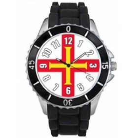 Timest - ガーンジー島国フラグ - ブラックSE0423bの中のシリコーンストラップとの男女両用の時計