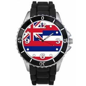 Timest - ハワイ国フラグ - ブラックSE0575bの中のシリコーンストラップとの男女両用の時計