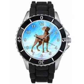 シリコーンバンドとのワイマラナー男女両用デザイン時計