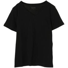アースミュージックアンドエコロジー earth music & ecology オーガニックコットンVネックTシャツ (Black)