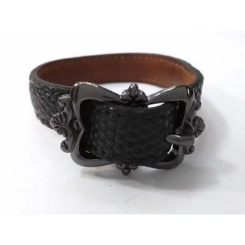 【中古】 フットザコーチャー FOOT THE COACHER ブレスレット レザー 金属素材 黒 型押し加工