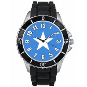 Timest - ソマリア国フラグ - ブラックSE0530bの中のシリコーンストラップとの男女両用の時計