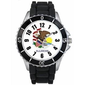 Timest - イリノイ国フラグ - ブラックSE0577bの中のシリコーンストラップとの男女両用の時計