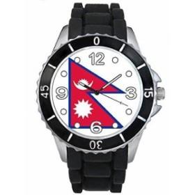 Timest - ネパールフラグ - ブラックSE0480bの中のシリコーンストラップとの男女両用の時計