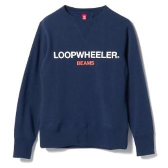 LOOPWHEELER × BEAMS JAPAN / 別注 吊り裏毛 ロゴ スウェットシャツ メンズ スウェット NAVY L