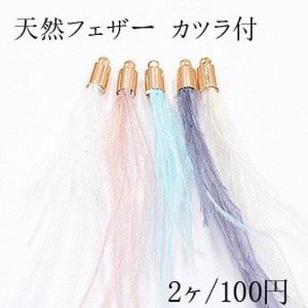 天然フェザー カツラ付 染めの羽根 タッセルチャーム 全5色【2ヶ】