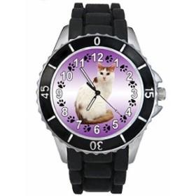 Timest - ターキッシュ・バン猫 - ブラックSE0336bの中のシリコーンストラップとの男女両用の時計