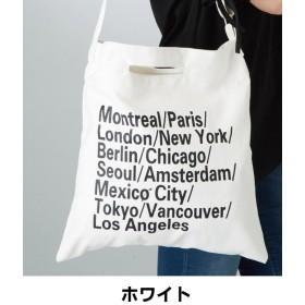 【32%OFF】 メゾンドラティール おしゃれなロゴデザインの入った、布製ショルダーバッグ。 レディース ホワイト ONESIZE 【maison de LATIR】 【タイムセール開催中】
