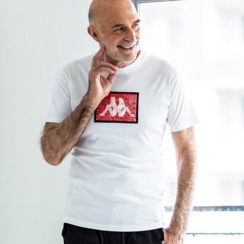 Tシャツ - SHIFFON Kappa×1PIU1UGUALE3 RELAX(ウノピゥウノウグァーレトレ)スパンコールワッペンTシャツ(ホワイト/ネイビー/ブラック)