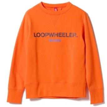 LOOPWHEELER × BEAMS JAPAN / 別注 吊り裏毛 ロゴ スウェットシャツ メンズ スウェット ORANGE S