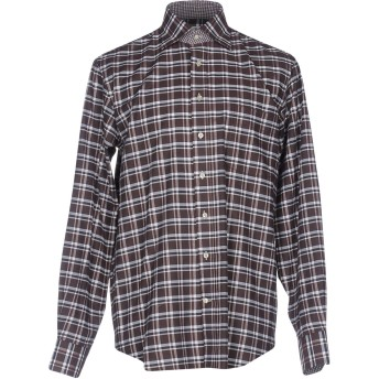 《セール開催中》EMANUEL BERG メンズ シャツ ダークブラウン 40 100% コットン