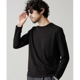 nano・universe R/CプレーティングクルーネックTシャツ(ブラック)【返品不可商品】