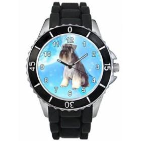 シリコーンバンドとのシュナウザー犬男女両用デザイン時計