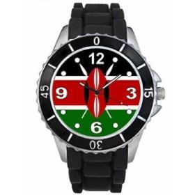 Timest - ケニアフラグ - ブラックSE0444bの中のシリコーンストラップとの男女両用の時計