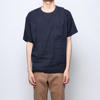 コムサイズム COMME CA ISM リネン ハイパワーストレッチ Tシャツ (ネイビー)