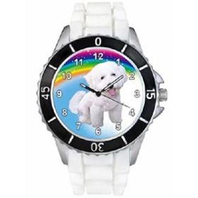 ビション・フリーゼ・ホワイトゼリーシリコーンバンド男女両用は腕時計を見せびらかします。