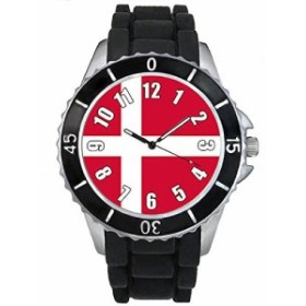 Timest - デンマークフラグ - ブラックSE0395bの中のシリコーンストラップとの男女両用の時計