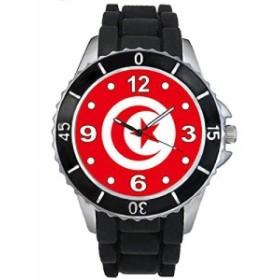Timest - チュニジア国フラグ - ブラックSE0546bの中のシリコーンストラップとの男女両用の時計