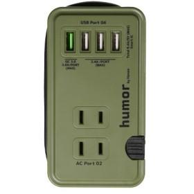 humor handy コンパクト電源タップ コンセント3ポート + USB 4ポート 276-905937 オリーブグリーン [約25cm]