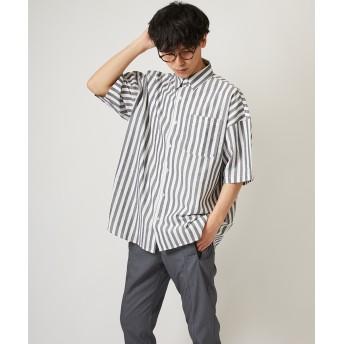 シャツ - improves ストライプ ビッグシルエット シャツ メンズ 半袖 ビッグシャツ ストライプシャツ 半袖シャツ ブロードシャツ オーバーサイズビッグサイズ ブルー ブラック ホワイト 青 黒 白 韓国ファッション きれいめ ストリート系 メンズファッション インプロ