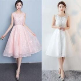 ドレス 30代 40代 お呼ばれドレス お呼ばれ Aライン パーティードレス ワンピース 二次會 ひざ丈 結婚式 ノースリーブ