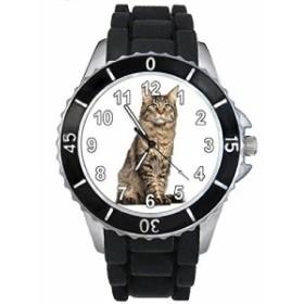 Timest - ヨーロッパショートヘアキャット - ブラックSE0116bの中のシリコーンストラップとの男女両用の時計