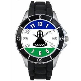 Timest - レソトフラグ - ブラックSE0452bの中のシリコーンストラップとの男女両用の時計