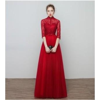 お呼ばれドレス花嫁ドレス 大きいサイズ 披露宴 ロングドレス ウェディングドレス 赤 チャイナドレス 可愛いドレス 二次會