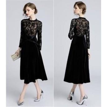 お呼ばれ 透け感 デート 結婚式ドレス レディース パーティードレス 40代 ワンピース ドレス 二次會 リボン 20代 30代