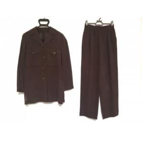 【中古】 レリアン Leilian レディースパンツスーツ サイズ9 M レディース ダークブラウン 肩パッド