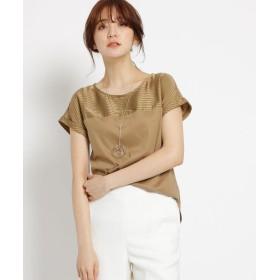 INDIVI(インディヴィ) [S]【マシンウォッシュ】シルケットスムース ブラウス風Tシャツ
