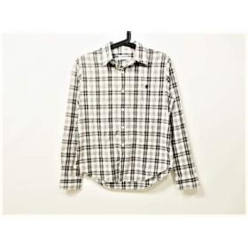 【中古】 ジムフレックス Gymphlex 長袖シャツ サイズ14 メンズ 白 黒 ダークブラウン チェック柄