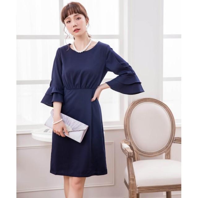 ドレス スター ラッフル袖シンプルパーティードレス レディース ネイビー Sサイズ 【DRESS STAR】